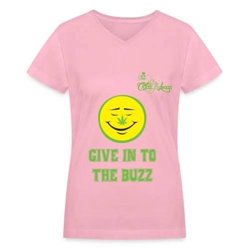 Smiley Face with Pot Leaf Nose - Women's V-Neck T-Shirt - Women's V-Neck T-Shirt