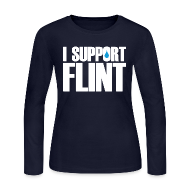 Long Sleeve Shirts ~ Women's Long Sleeve Jersey T-Shirt ~ I Support Flint (Net Proceeds to flintkids.com)
