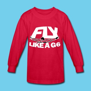 Fly like a G6- Kid's LS Tee- Design Front- Rear mini logo - Kids' Long Sleeve T-Shirt