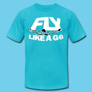 Fly like a G6- Men's American Apparel Tee- Design Front- Rear mini logo - Men's T-Shirt by American Apparel