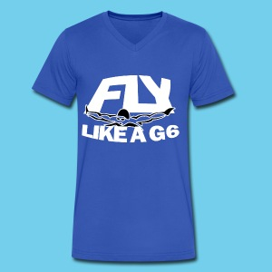 Fly like a G6- Men's Performance Tee- Design Front- Rear mini logo - Men's V-Neck T-Shirt by Canvas
