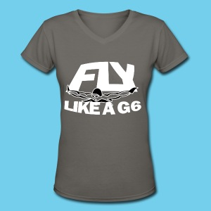 Fly like a G6- Women's Std V-Neck Tee- Design Front- Rear mini logo - Women's V-Neck T-Shirt