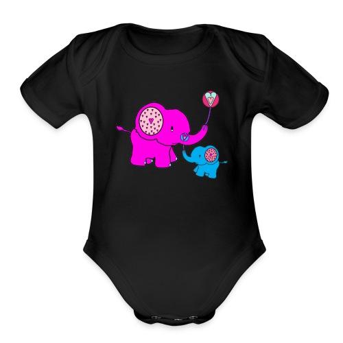 Valentine Elephant - Organic Short Sleeve Baby Bodysuit