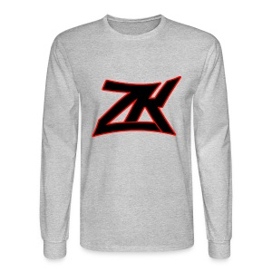 Grey Men's RED ZK Logo Long Sleeve - Men's Long Sleeve T-Shirt