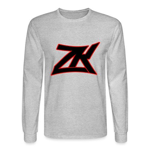Grey Men's RED ZK Logo Long Sleeve - Men's Long Sleeve T-Shirt