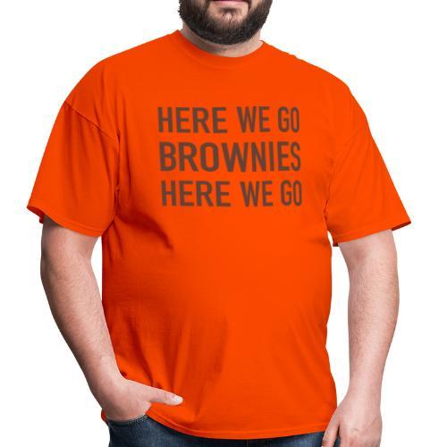 White on Orange Here We Go Brownies Flock Print - Men's T-Shirt