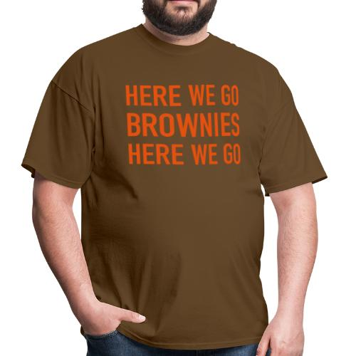 Orange on Brown Here We Go Brownies Flock Print - Men's T-Shirt