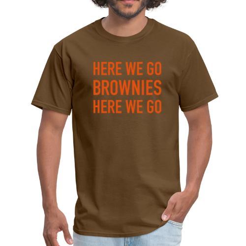 Orange on Brown Here We Go Brownies Flock Print - Men's T-Shirt