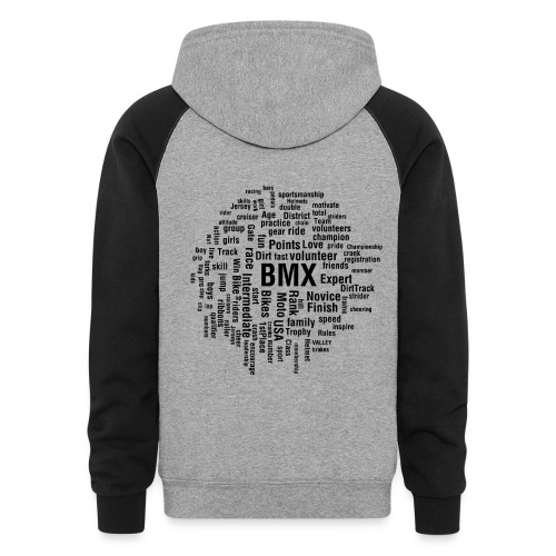 Mens BMX word cloud hoodie - Colorblock Hoodie