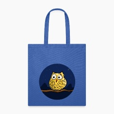 Owl on branch at night Bags & backpacks