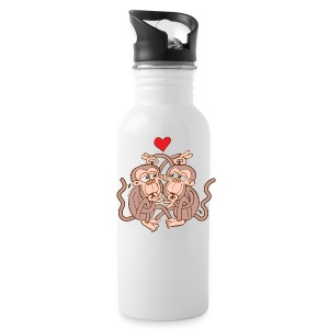 Monkeys Falling in Love while Eating Lice Mugs & Drinkware - Water Bottle
