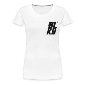 Blucky Chest Logo Womens [White] - Women's Premium T-Shirt