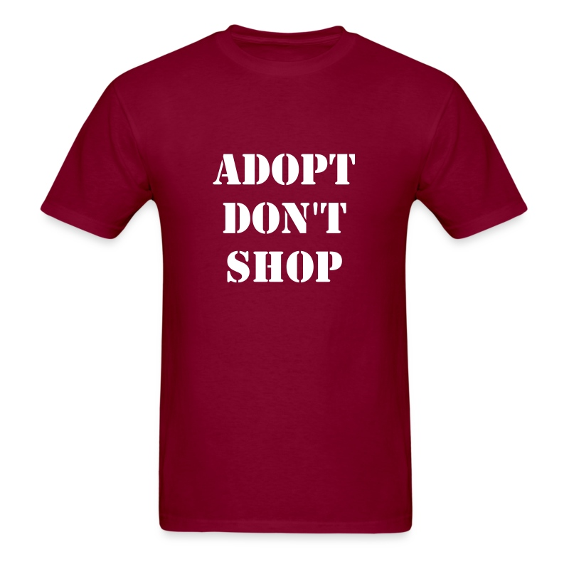 Men 39 s adopt don 39 t shop t shirt t shirt theveganjunction for Shop mens t shirts