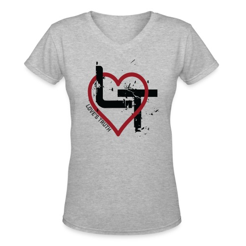 Women's Premium V-Neck T-Shirt - Distressed Logo - Women's V-Neck T-Shirt