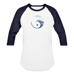 Mountain Yin Yang Men's Baseball T-Shirt - Baseball T-Shirt