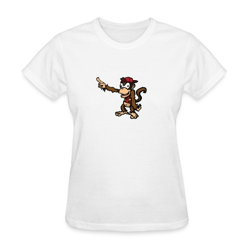 Women's White Diddy Kong pointing at an unknown object with his hat on backwards - Women's T-Shirt