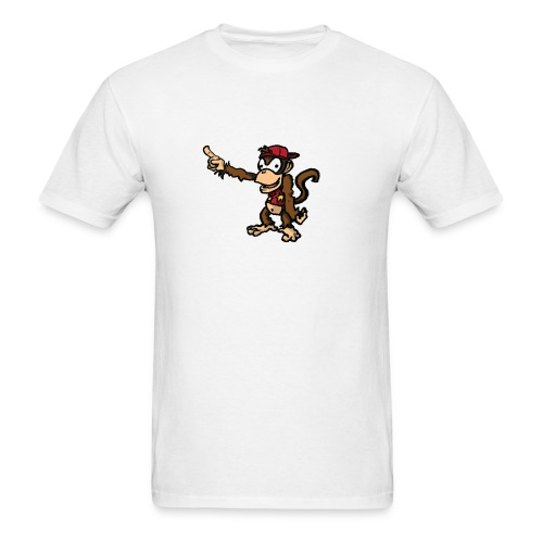 Men's White Diddy Kong pointing at an unknown object with his hat on backwards - Men's T-Shirt