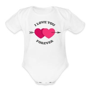 Love You Valentine   - Short Sleeve Baby Bodysuit