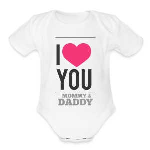 Love You M&D valentine   - Short Sleeve Baby Bodysuit