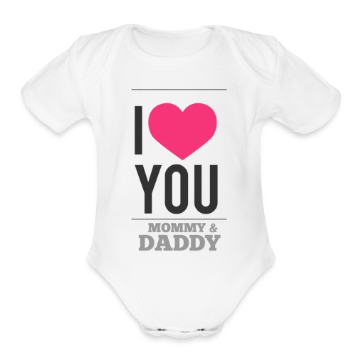 Love You M&D valentine   - Organic Short Sleeve Baby Bodysuit