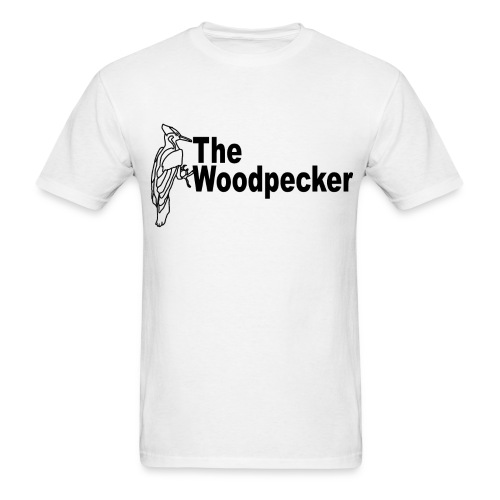 The Woodpecker logo with a woodpecker in the back - Men's T-Shirt