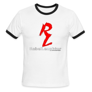 Men's Rebel Laughter Red Logo Cuffed W&B Tee - Men's Ringer T-Shirt