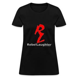 Women's Rebel Laughter Red Logo Black Tee - Women's T-Shirt