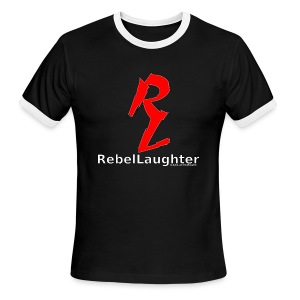 Men's Rebel Laughter Red Logo Cuffed B&W Tee - Men's Ringer T-Shirt