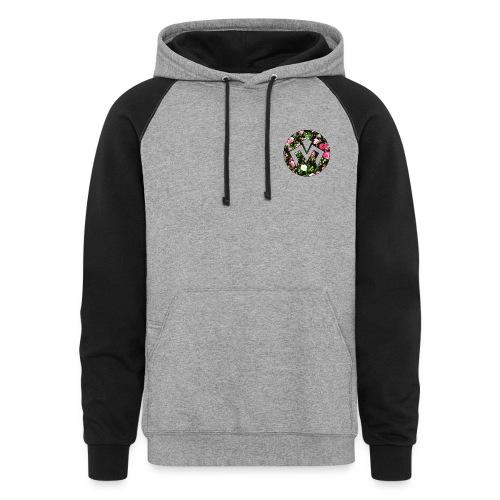 Merek Logo Floral Design  - Colorblock Hoodie