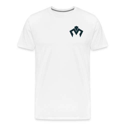 White Tshirt Navy Blue Merek  Logo - Men's Premium T-Shirt