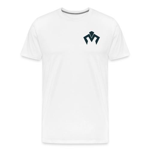 White Tshirt Navy Blue Merek  Logo - Men's Premium T-Shirt