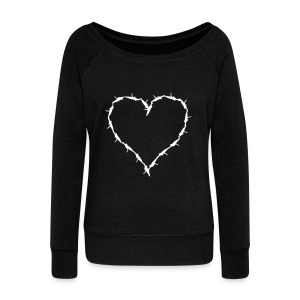 Black sweat shirt barbedwire heart wihite - Women's Wideneck Sweatshirt