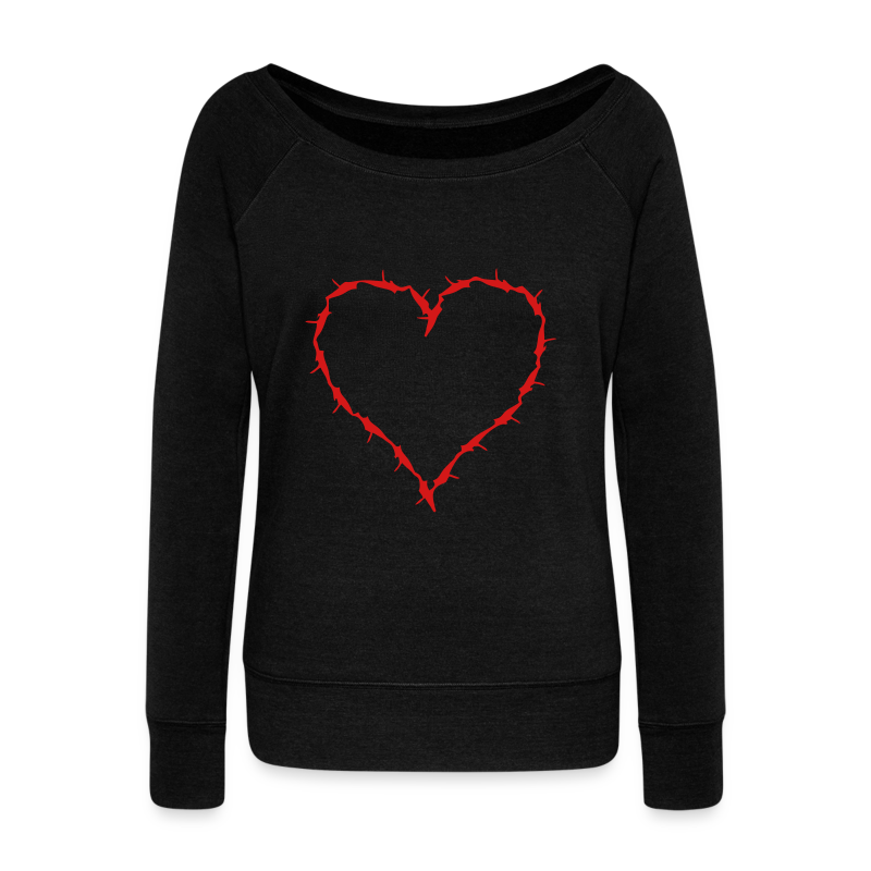 black sweat shirt with red barbwire heart  - Women's Wideneck Sweatshirt