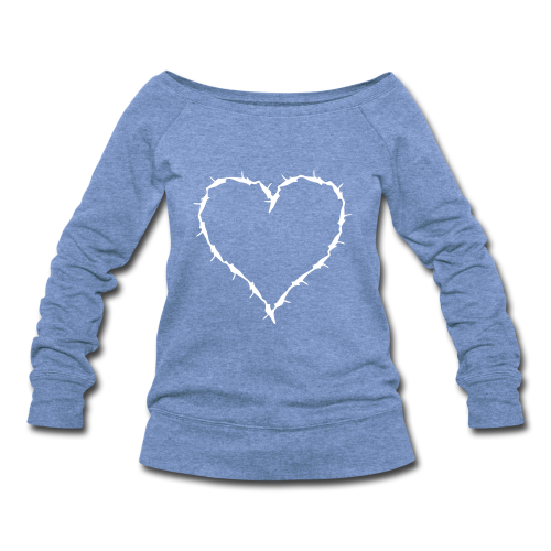 heather blue white barbwire heart  - Women's Wideneck Sweatshirt