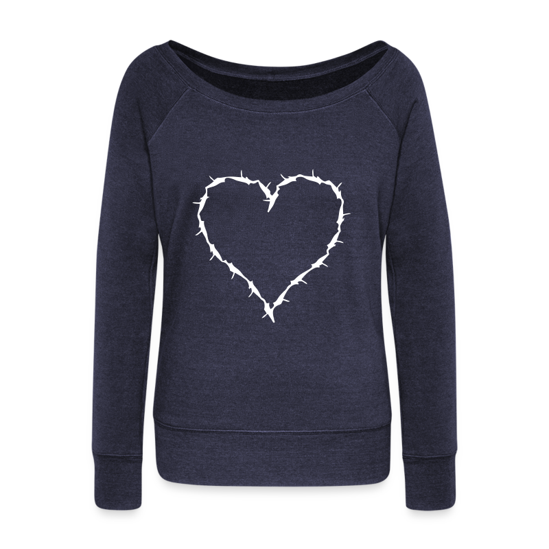 slouch shirt barbwire heart - Women's Wideneck Sweatshirt