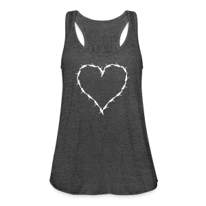 Women's Flowy Tank Top by Bella - Heather grey tank with barbwire heart