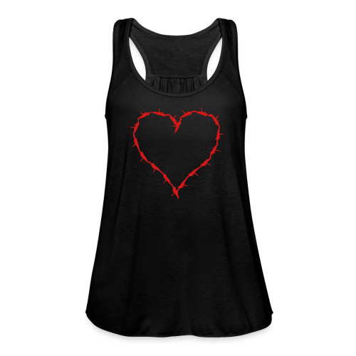 Black flow tank with red barbedwire heart  - Women's Flowy Tank Top by Bella