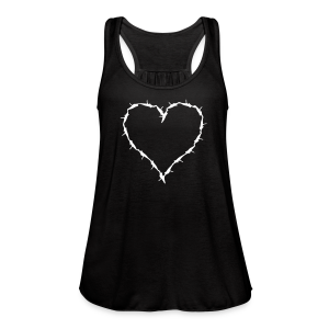 Black flow tank with barbwire heart white - Women's Flowy Tank Top by Bella