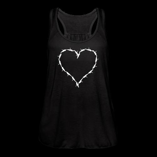 Black flow tank with barbwire heart white - Women's Flowy Tank Top by Bella