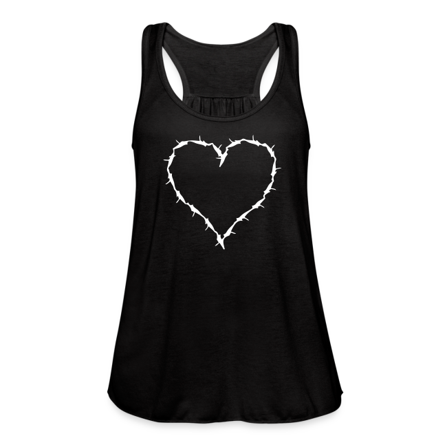 Black flow tank with barbwire heart white