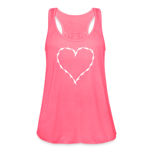 pink flow tank with white barbwire heart  - Women's Flowy Tank Top by Bella