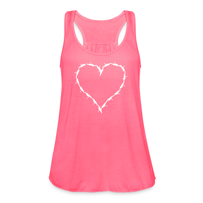 pink flow tank with white barbwire heart