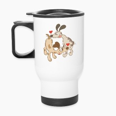 Dogs Falling in Love by Sniffing Butts Mugs & Drinkware