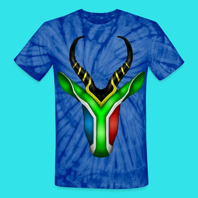 3b98b64b94e South Africa Flag Springbok Animal Unisex Blue Tie-Dye T-Shirt