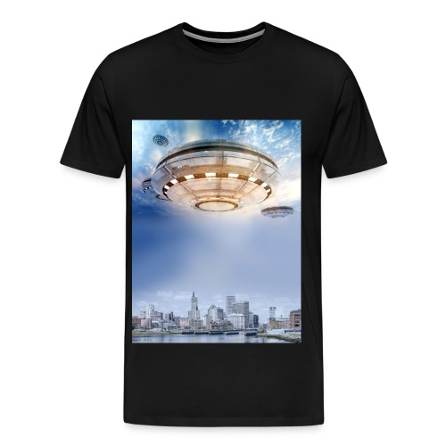 UFO Hoovering Earth - Men's Premium T-Shirt