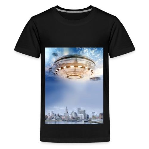 UFO Hoovering Earth - Kids' Premium T-Shirt