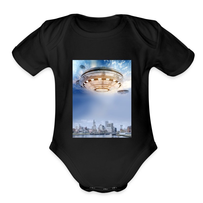 UFO Hoovering Earth - Short Sleeve Baby Bodysuit