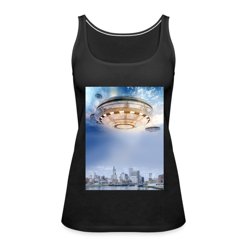 UFO Hoovering Earth - Women's Premium Tank Top