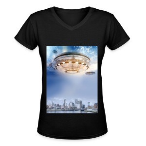 UFO Hoovering Earth - Women's V-Neck T-Shirt