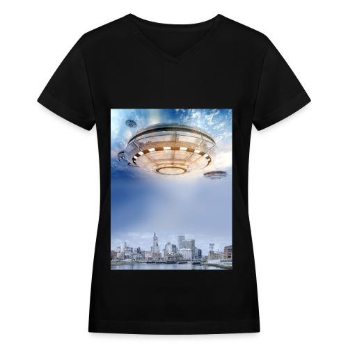 UFO Hoovering Earth - Women's V-Neck T-Shirt